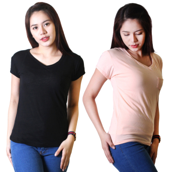 Cotton Republic Set of 2 Anastasia V-Neck Soft Top Blouse Black andPeach