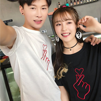Couple Korean-style Embroidery Short Sleeve T-Shirt (White)