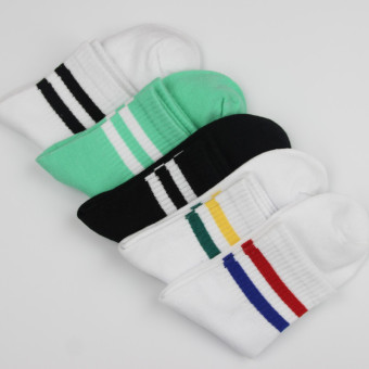 Couple's Korean-style striped Two Socks (Two bars women's 5 color 5 double)