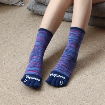 Couple's retro cotton men women's socks toe socks (Tube models dark blue)