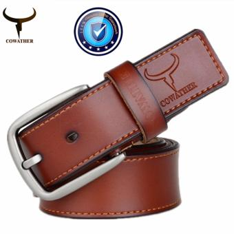 COWATHER 2017 100% Cow Genuine Leather Men Belts Male Belt PinBuckle Strap Male Cowhide Belt for Men Jeans Cow Leather BrownXXS-XXL - intl Price Philippines