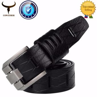 "COWATHER 2017 Men's 100% Cow Leather Ratchet Dress Belts for Male Pin Buckle 100% Cow Genuine Strap Width 1-1/2"" Price Philippines"