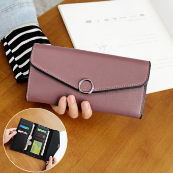 Cute female Japanese and Korean style buckle leather wallet women's wallet (Hoop paragraph-dark gray purple)