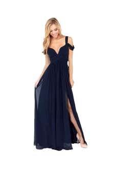 Cyber Maxi Long Dress (Navy Blue)