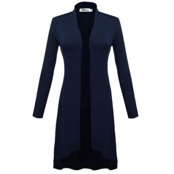 Cyber Meaneor Women Long Sleeve Open Front Solid Long CardiganCoat(navy blue)