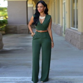 Cyber Sexy Women V-neck Sleeveless Casual Party Jumpsuit Romper Playsuit ( Amy Green )