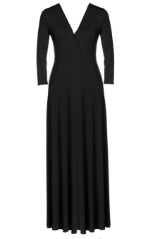 Cyber Women Plus Size Long Sleeve Formal Prom Ball Evening Party Long Maxi Dress Black