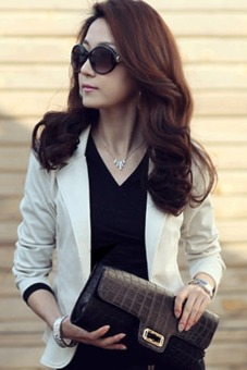 Cyber Women Slim Casual Short Blazer Suit Jacket Coat Outwear(White)