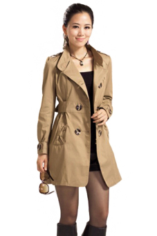 Cyber Women's Slim Double-Breasted Long Sleeve Coat Long Jackets (Brown)