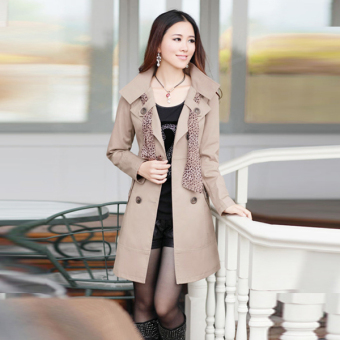 Cyber Womens Double-Breasted Long Trench Jacket Coat Scarf (Khaki)