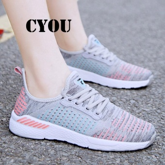 CYOU New Arrival 2017 Summer Walking Shoes Sports Sneakers For Man Sports Running Shoes Men Spring Light Jogging Shoes Kasut Wanita (Grey) - intl
