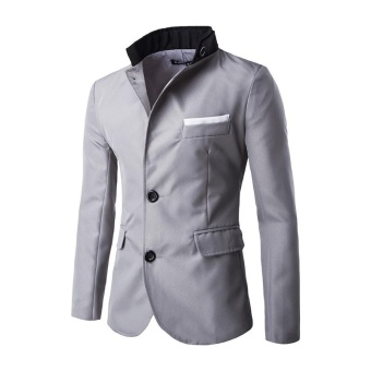 dark grey men jacket fashion Casual Slim fit Stylish Single Breasted Suit Blazer Mens Coat Male Fashion Stand Neck Formal Clothing - intl