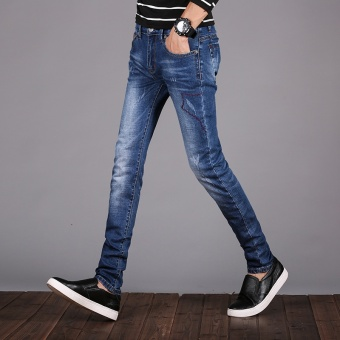Dark men Slim fit skinny long pants autumn jeans (Blue)