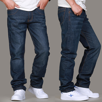 Dark straight extra-large loose casual jeans Loose jeans (Washed blue)