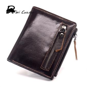 Double Zipper Wallet 2017 New Genuine Leather Mens Wallet Zipper Coin Purse Luxury Short Wallet Men