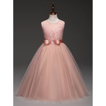 Elegant Pink Princess Dress for Kids Birthday Great Gift Teens Girls Formal Dresses Party Kids Sleeveless