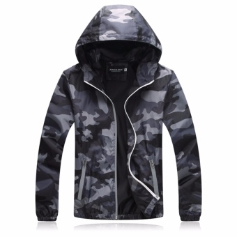Encontrar Men Camouflage Hooded Jackets Winproof M-3XL (Grey) -intl