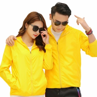 Encontrar Men Outdoor Hooded Jackets Sun Protection Windbreak forLovers S-4XL (Yellow) - intl
