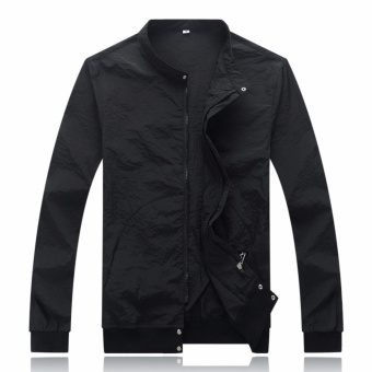 Encontrar Men Solid Zipper Quick Dry Bomber Skin Jackets M-3XL (Black) - intl