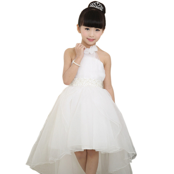 EOZY 2016 Summer Fashion Girls Dress Kids Dresses White PrincessTutu Dress For Birthday Photo Wedding Party (White) - Intl