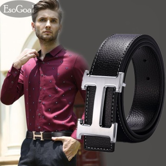EsoGoal Men's H Reversible Business Casual Leather Belt With Removable Buckle (Black&Silve,120cm) - intl