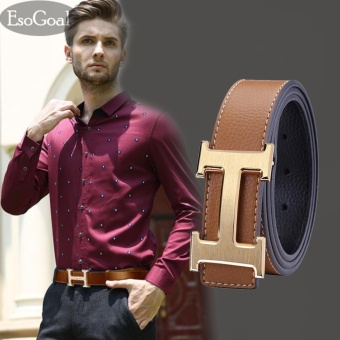 EsoGoal Men's H Reversible Business Casual Leather Belt With Removable Buckle (Brown&Gold,120cm) - intl