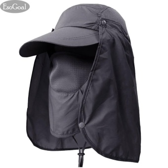EsoGoal Summer Sun Hat Protection Caps Flap 360?Outdoor Fishing Hat with Removable Neck Face Flap Cover, UPF 50+ Cap For Men And Women (Dark Grey) - intl