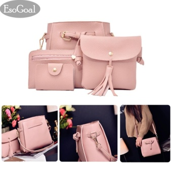 EsoGoal Women's PU Leather Handbag+Shoulder Bag+Purse+Card Holder 4pcs Set Tote Pink - intl