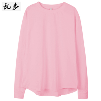 European and American celebrity inspired casual long-sleeved t-shirt (082 solid color long T pink color) (082 solid color long T pink color)