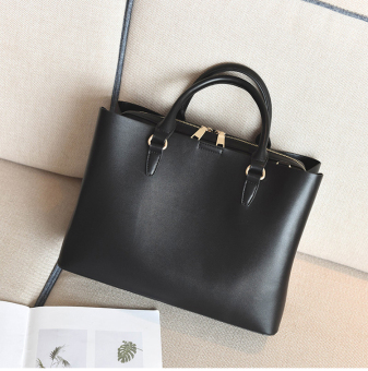 European and American female New style atmosphere large bag (Black)
