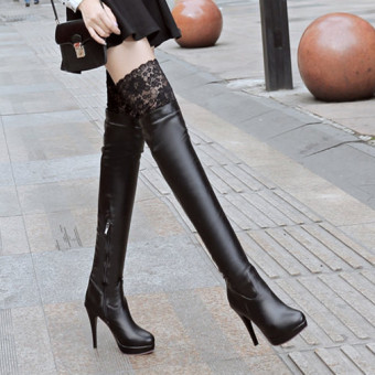 European leg sexy lace slimming over-the-knee boots women's shoes (Black)