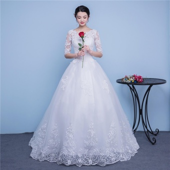 Ever Dresses Ivory Lace Wedding Dress Embroidery Half Sleeve BridalGown with Train - intl