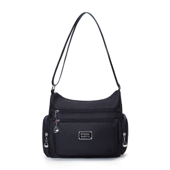 Fabric solid color Oxford nylon multi-shoulder bag New style casual women's bag (Black small) (Black small)