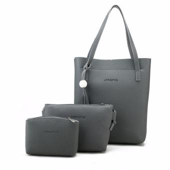 Fashion 3 in 1 Jingpin PU Leather Shoulder Bag Set (Dark Grey)