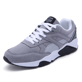 Fashion Casual Men Lace Up Running Sneakers Shoes (GREY) - Intl