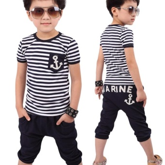 Fashion Kids Clothes Set Boys Navy Striped T-shirt and Pants Suits Summer Children Clothing