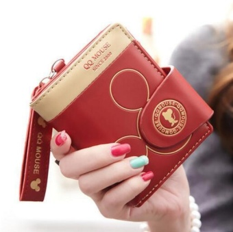 Fashion Leather Short Women Wallet Small Clutch Female Purse ID Coin Card Holder Mini Bag(red) - intl