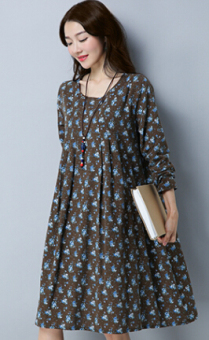Fashion Linen loose high waist a word skirt round neck dress (Coffee color)