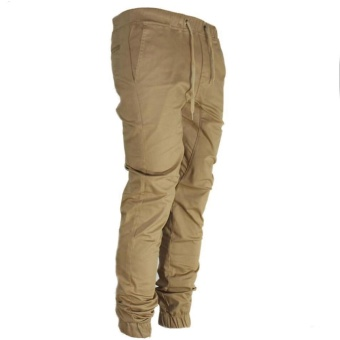 Fashion Men's Pants Casual Urban For Hip Hop Harem Trousers SlimFit Elastic Twill Jogger Khaki - intl