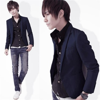 Fashion Men's Slim Fit Stylish Formal Casual One Button SuitBlazers Coat Jacket - intl