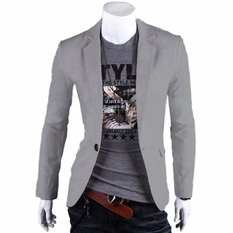 Fashion Stylish Men's Outwear One Button Casual Slim Fit Blazer Coat Jacket Suit [Light Gray] - intl