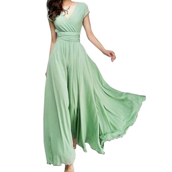 Fashion Summer Style V-Neck Short Sleeve Floral Dress For Women Bohemia Long Beach Maxi Dress(Light Green) - intl