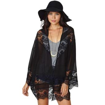 Fashion Women Chiffon Cardigan Kimono Floral Lace Open Front Long Sleeve Thin Coat Black