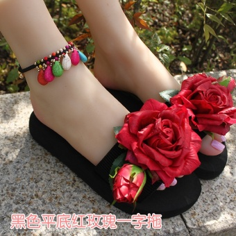Female flat slip flower sandals and slippers sandals (Black flat Hong rose sandals)