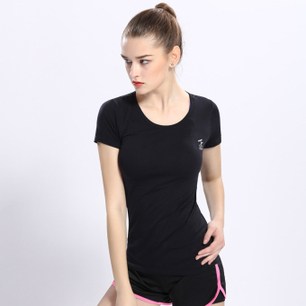 Female Slim fit running fitness clothing yoga clothes Sports Short sleeved t-shirt (Black) (Black)