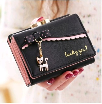 Female Student three fold multi-functional wallet New style wallet (Black)
