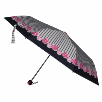Fibrella Umbrella F00412 with UV Block Plus (Black Stripe with RoseDesign)