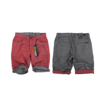 Freego Men's Printed And Chambray Reversible Shorts (Chili Pepper)