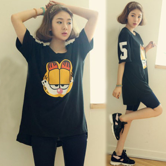 Garfield Korean-style cotton Plus-sized mid-length T-shirt Top