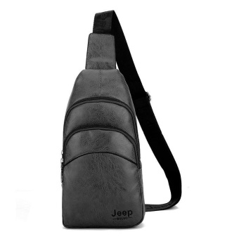 Genuine Cowhide Leather New Men and Women Chest Pack Casual SportsOutdoor Leisure Crossbody Bag Hiking Daypack Cycling TravelDouble-deck Sling Bag (Black) - intl